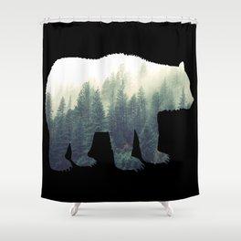 Misty Forest Bear Shower Curtain