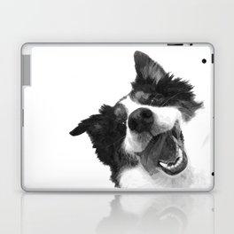 Black and White Happy Dog Laptop & iPad Skin
