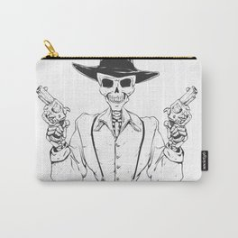 Gangster skull - grim  reaper cartoon - black and white Carry-All Pouch