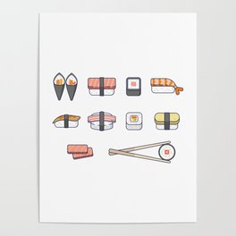 Sushi and Chopsticks Poster