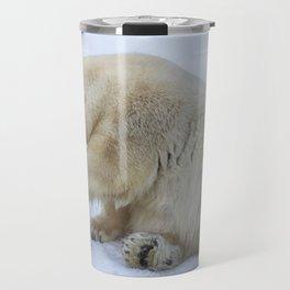 Polar bear with cub. Mother love. Travel Mug