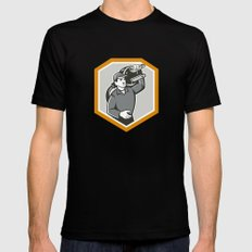 Electrician Carry Electric Plug Retro Black SMALL Mens Fitted Tee
