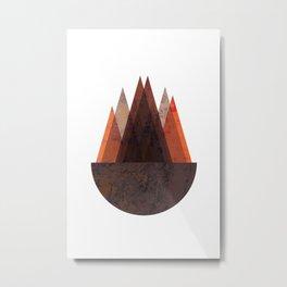 Terracotta Mid Century Abstract Mountains Metal Print