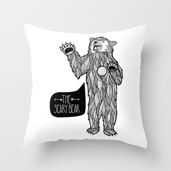 Scary Bear 2 Throw Pillow