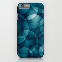 Dark intersecting heavenly translucent circles in bright colors with the blue glow of the ocean. iPhone Case