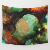 geode Wall Tapestries featuring Geode II, Malachite by Titania Designs