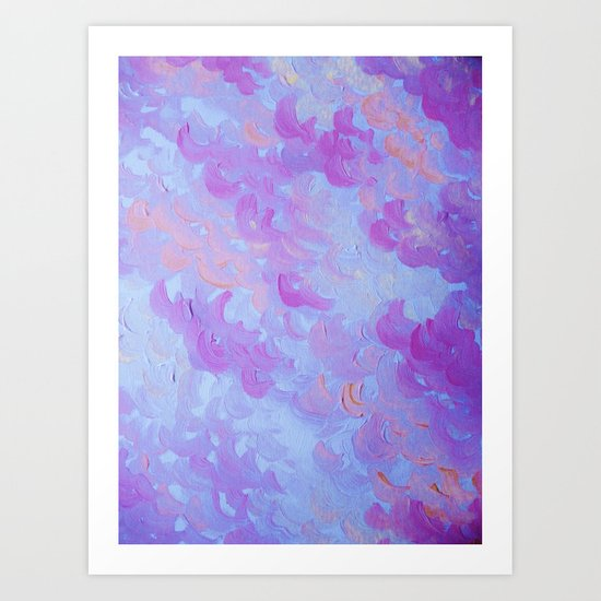PURPLE PLUMES - Soft Pastel Wispy Lavender Clouds Lilac Plum Periwinkle Abstract Acrylic Painting  Art Print