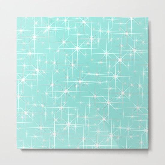 Blue Tiffany Glitters Stars Metal Print