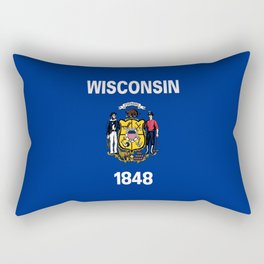 flag winconsin,america,usa,midwest,great lakes, Wisconsinite, Badger, Dairyland,Milwaukee,Madison Rectangular Pillow