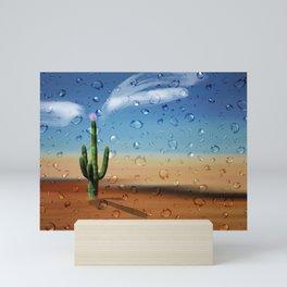 After Rain-Saguaro Cactus-Desert-Water droplets Mini Art Print