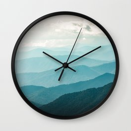 Turquoise Smoky Mountains - Wanderlust Nature Photography Wall Clock