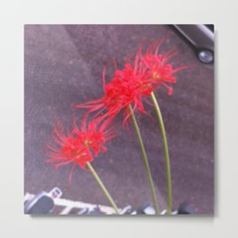 Flowers and the city Metal Print