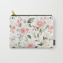 Sunny Floral Pastel Pink Watercolor Flower Pattern Carry-All Pouch
