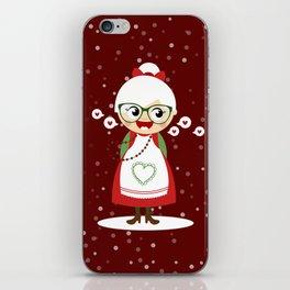 Mère Noël  (rouge avec flocons) iPhone Skin
