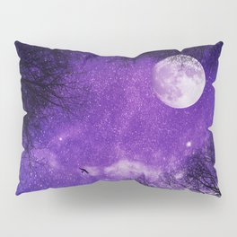Nightsky with Full Moon in Ultra Violet Pillow Sham