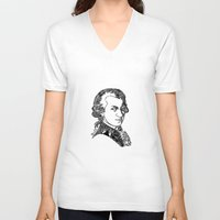 mozart V-neck T-shirts featuring Wolfgang Amadeus Mozart by Pablo Toussaint