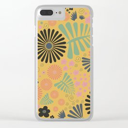 Whimsical flowers - yellow, pink and grey Clear iPhone Case