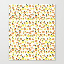 Handdrawn Lemons and Oranges Pattern Canvas Print