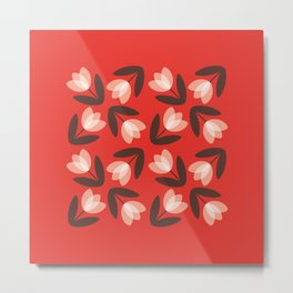 Scattered Tulips in Red Metal Print