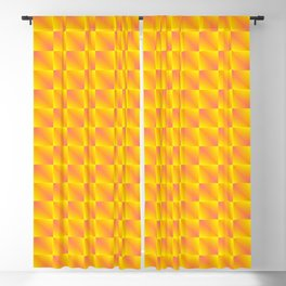 Chaotic pattern of bright pink rhombuses and yellow triangles in a zigzag. Blackout Curtain
