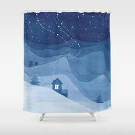 house in mountains, blue Shower Curtain