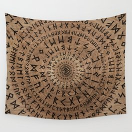 Elder Futhark Circular Composition Wall Tapestry