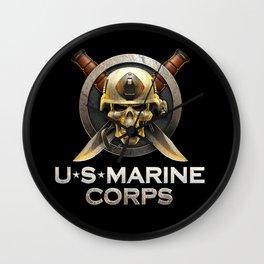 Military badge with marine skull Wall Clock