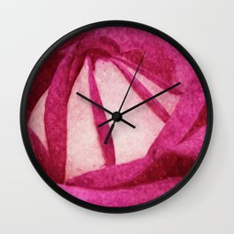 Pink Rose painted version Wall Clock