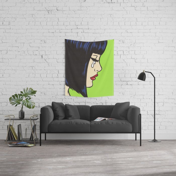 Mod Crying Comic Girl Wall Tapestry