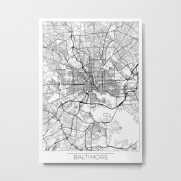 Baltimore Map White Metal Print