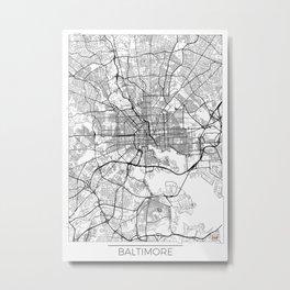 Baltimore Map White Metal Print