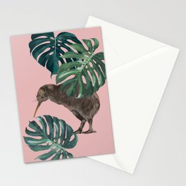 Kiwi Bird with Monstera in Pink Stationery Cards