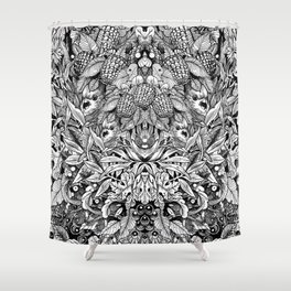 Summer Foliage, Black and White Shower Curtain