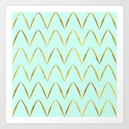 Mint Gold Foil 05 Art Print