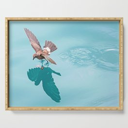 Storm petrel dancing on the ocean Serving Tray