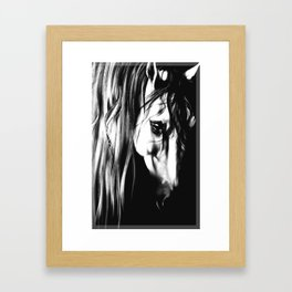 Snow White Horse Equestrian T-shirt Equine Tee Dressage Print Show Jumping Artwork Pony Braided Mane Framed Art Print