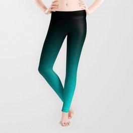 Black Aqua Neon Nights Ombre Leggings