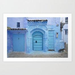 Street Scene, Chefchaouen (Morocco) Art Print