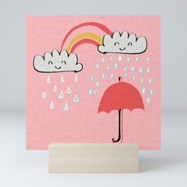 April showers rainbow Clouds Pink #nursery Mini Art Print
