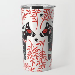 Swedish Dala Horses – Red and Black Palette Travel Mug