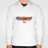 oslo Hoodies featuring Oslo skyline in watercolor by Paulrommer