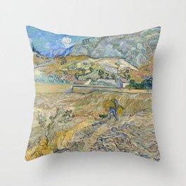 Vincent Van Gogh - Landscape at Saint-Rémy, Enclosed Field with Peasant Throw Pillow
