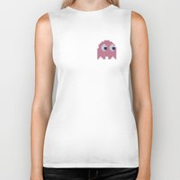 pac man Biker Tanks featuring Pac-Man Pink Ghost by Psocy Shop
