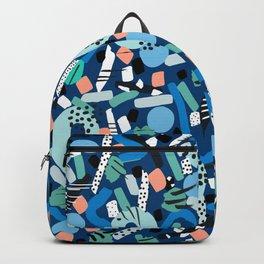 CIRCLES IN MOTION - GREEN/ BLUE brush stroke Backpack