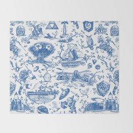 "Zelda ""Hero of Time"" Toile Pattern - Zora's Sapphire Throw Blanket"