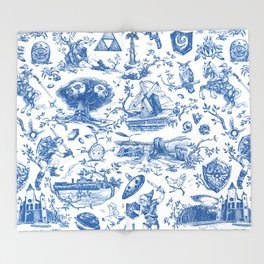 "Zelda ""Hero of Time"" Toile Pattern - Zora's Sapphire Throw Blanket"