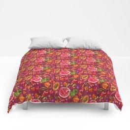 Tropical Fruit Festival in Red | Frutas Tropicales en Rojo Comforters
