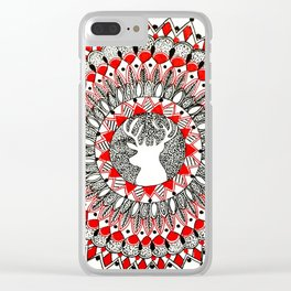 Holiday Reindeer Red and Black Mandala Clear iPhone Case