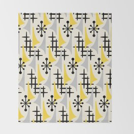 Mid Century Modern Atomic Wing Composition Yellow & Grey Throw Blanket