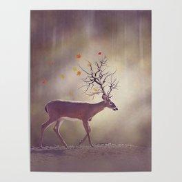 Autumn tree horn deer in the woods Poster